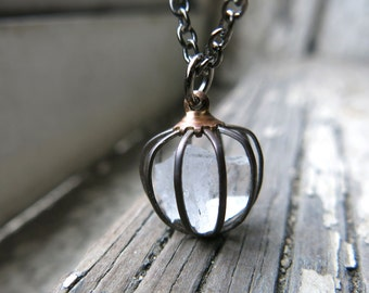 Quartz Crystal Necklace Raw Gemstone Pendant Minimal Cage Mother's Day Gift for Her Jewellery White Uncut Amulet Healing Gem Stones Chakra
