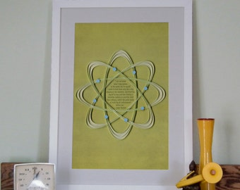 "Isaac Newton quote ""I seem to have been only like a boy playing on the seashore"" Inspirational poster, quilled atom border, Paper art print"