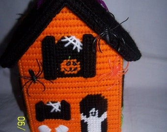 Happy Haunting Halloween Tissue Box Cover ( Orange )