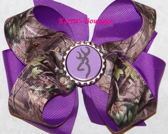 Camo Hair Bow or Headband / Mossy Oak & Purple / Deer / Flower Girl / Pageant / Photo Prop / Infant / Baby / Girl / Toddler / Boutique