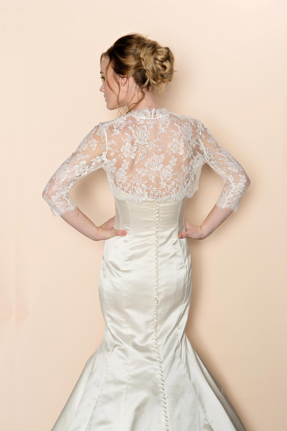 Celine bridal french lace bolero cover up shrug in ivory for Lace shrugs for wedding dresses