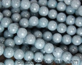 6mm Dove Gray Jade Beads Opaque Smooth - 15.5 inch strand