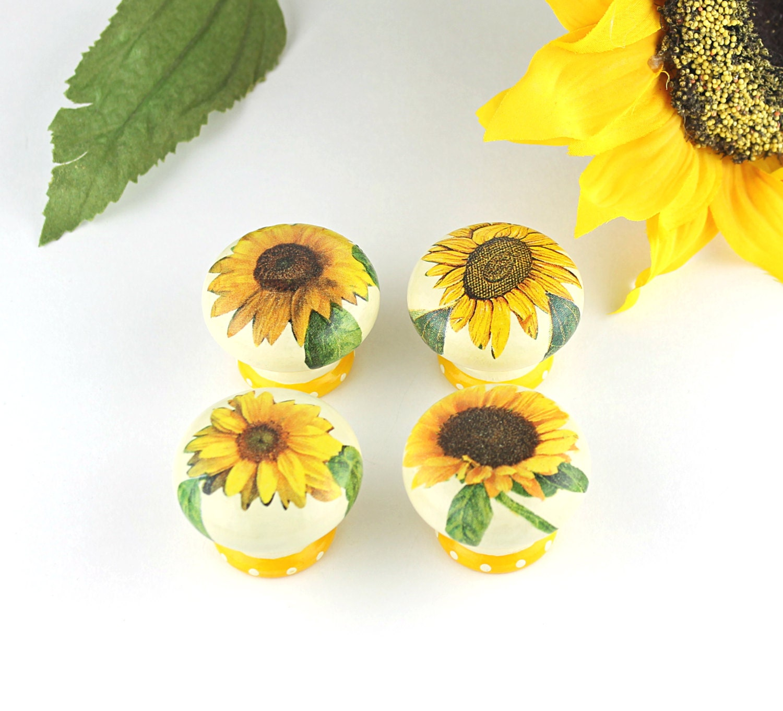 Sunflower Kitchen Door Knobs