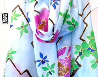 Hand Painted Large Silk Scarf, Blue Silk Scarf, Kimono Tropical Orchids Blue Floral Scarf, 22x90 inches.