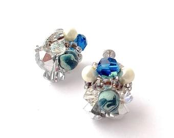 Vendome Earrings Crystal White and Blue Aurora Borealis Cluster Earrings 1950s