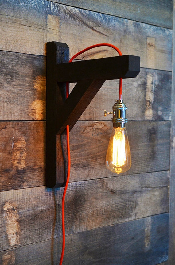 similar to industrial edison bulb lamp wall lamp red cord on etsy. Black Bedroom Furniture Sets. Home Design Ideas