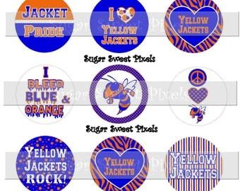 INSTANT DOWNLOAD Blue Orange  Yellow Jackest School Mascot 1 inch circle Bottlecap Images