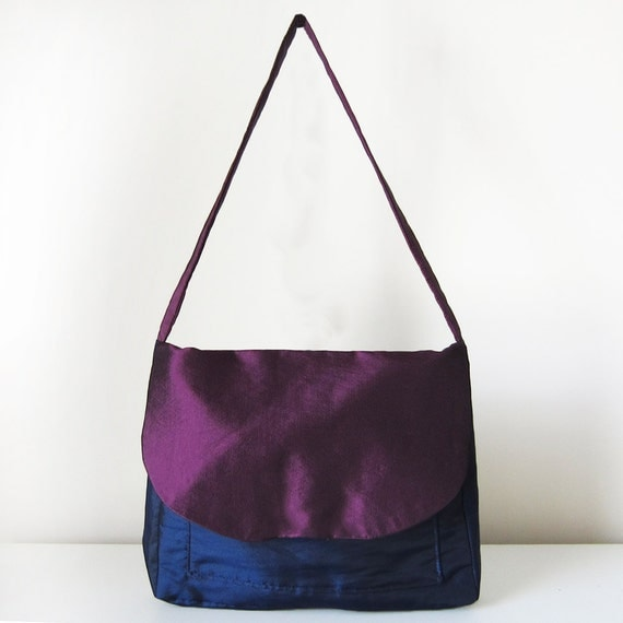 Purple Blue Evening Handbag with Flap, Front Pocket and One Strap
