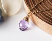 Purple Amethyst Necklace - Amethyst Gold Necklace. Gold. February Birthstone. Bridal Jewelry, Bridesmaid Gift, Mothers day - Fifi LaBonge -