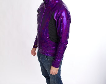 Holographic Men's Zip Hoodie in Royalty Purple-- BeastWares Once and Future Hoodie