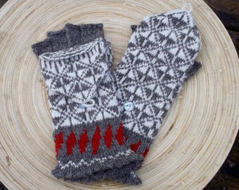 hand knitted wool convertible mittens, patterned hooded gloves, latvian mittens, half finger adult gloves, wool mitts, gray white mittens