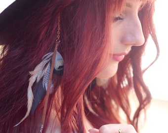 Feather Hair Clip: long hair feather accessory