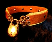 Studded Leatherwear Collar/Choker in Elk skin, rust suede and Brass