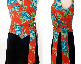 Elegant skirt Black satin skirt below the knee Wrap Top cache-coeur Red Orange Elegant Feminine 90s Large flowers sleeveless size M size L