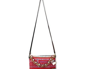 CLEARANCE--Fold Over Clutch With Removable Strap Cross-stitch Hill Tribe Fabric Thailand (BG065VBX27HD4)