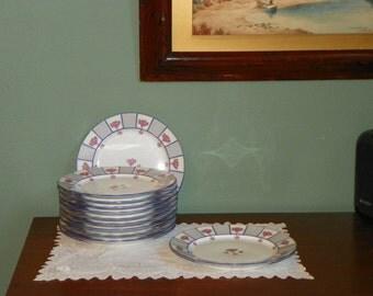 Antique Bailey Biddle Banks Limoges PLATES France T&V Philadelphia Porcelain France gilt roses