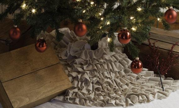 "Christmas Tree Skirt, Ruffled Tree Skirt, Layered Christmas Tree Skirt, Shabby Chic Christmas - 24 Inch, 24"""