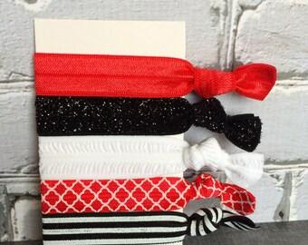Wisconsin Badgers Elastic Hair Ties, Set of 5 elastic hair ties, Girls hair ties, Ponytail holders, Soft Hair Ties, Red and Black
