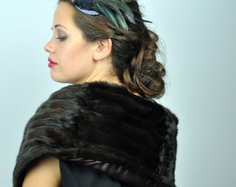 Feather Fascinator in Monochrome Shades with Natural Feathers