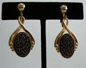 Elegant Black & Gold Glass Dangle Earrings by Emmons- Clip On Signed Floral Spider Web Ornate Detailed Mosaic Effect Classy