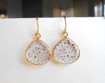Quartz Earrings, Gold Earrings - Lepidocrosite Gemstones Bezel Set in Gold Vermeil - Clear Quartz - Bride Bridal Wedding Day, Special Gift