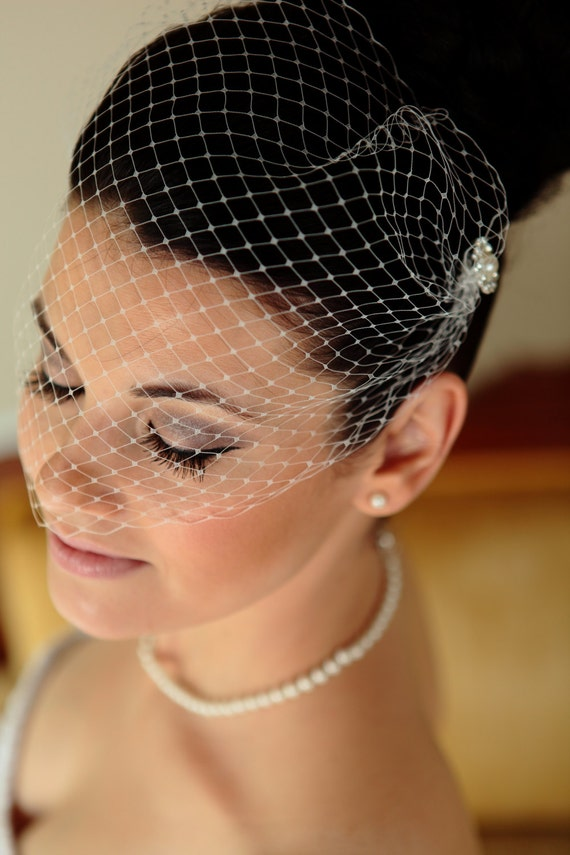 Birdcage Veil for Wedding – Simple White Tulle Birdcage Veil and Comb and also in Ivory