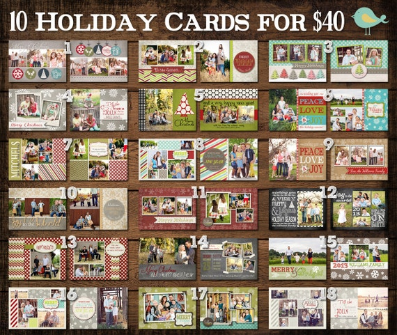 10 Templates for 40 Dollars - Christmas Card PHOTOSHOP TEMPLATES - Use Code DEAL40 At Checkout