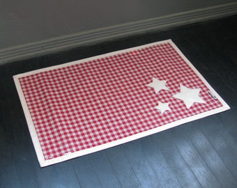 Red Gingham with White Stars Waterproof Pet Placemat Great for Independence Day