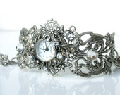 Silver Watch Women Floral Bracelet Watch Ladies Filigree Watch Vintage Style Victorian Gothic Unique Watches Victorian Jewelry