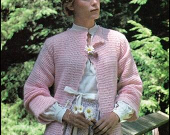No.248 PDF Vintage Crochet Pattern Women's Lazy Day Cardi - Retro Crochet Pattern - Instant Download - Sizes Small - Large