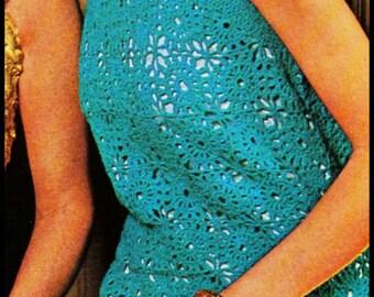 No.295 Crochet Dress Pattern PDF Vintage - Women's Crocheted Bow Tie Dress - Retro Crochet Pattern