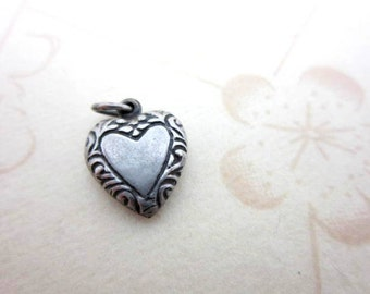 CLEARANCE SALE Art Nouveau sterling silver puffy heart charm pendant - authentic 925 silver antique sweetheart charm - lovers heart