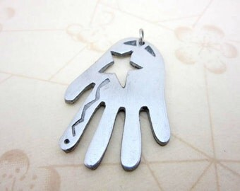 CLEARANCE SALE LARGE silver hand and star necklace pendant - hand charm