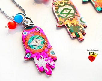 Fatima hand - lucky charm,summer jewelry,protection pendant,hand pendant,fatima necklace,colorful necklace,summer necklace, hamsa,good luck