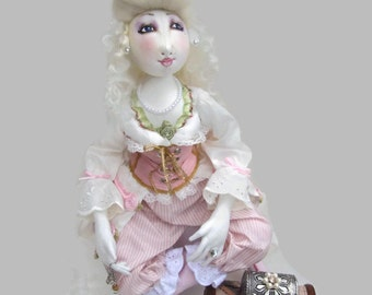 Marie Antoinette Boudoir art doll Shipwreck fancy dress costume pink silk corset  silk bloomers lace cotton bustle gift for her
