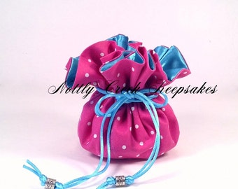 Jewelry Drawstring Pouch / Travel Bag / Tote / Store Jewelry / Cosmetics / Pink and Small White Polka Dots lined in Turquoise Satin
