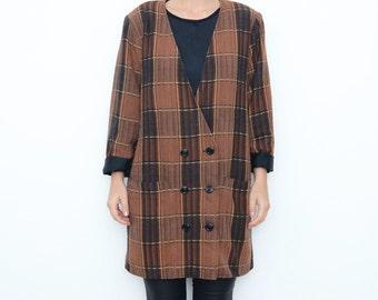 Vintage brown plaid women oversized coat / tartan