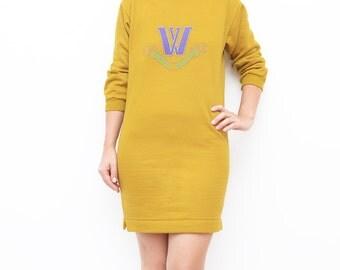 Vintage mustard yellow sweater dress / minidress women 90s S XS winter vacation W