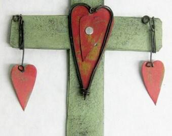 Rustic Metal Wall Cross - Decorative Small Heart Cross