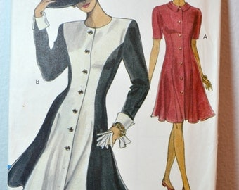 1990s Vintage UNCUT Vogue Pattern 8157 Misses Fitted and Flared Dress size 8 10 12 bust 31.5 - 34