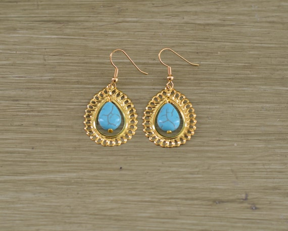 Turquoise and Gold Teardrop Earrings - Turquoise Bridesmaid Jewelry - Earring Gift - Gold Filigree Earrings - Gold Turquoise Drop Earring