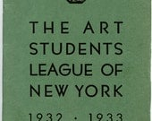1932-1933 Art Students League, NY Vintage Art School Catalog, Benton, Lucioni, Zorach, Curry...Great Artists on Faculty, Tipped in Addenda