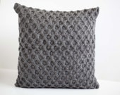 Gray hand knitted pillow cover - grey honeycomb pattern pillow case - grey cushion  with wool  0191