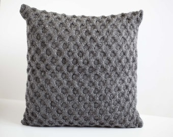 Gray knit pillow for home decor - honeycomb pattern pillows - chunky look pillow hand knit at home based studio 0191