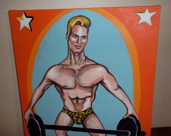 He carries the Charles Atlas Seal of Approval Original Muscle Man Pin Up Painting