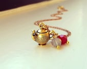 Antique Gold Teapot Necklace, Solid Teapot Charm / Pendant, Swarovski Crystal Beads, Brass Cable Chain