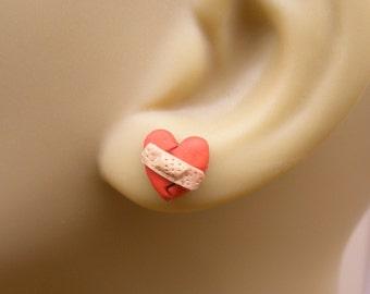 Band Aid Heart Earrings, Broken Heart Earrings, Miniature Food Earrings Heart Jewelry Mini Food Jewelry Mending Heart, Heart Jewelry, Kawaii
