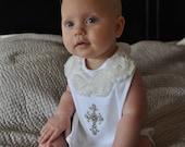 White Baptism Baby Bib with Off White Chiffon and Rhinestone Cross