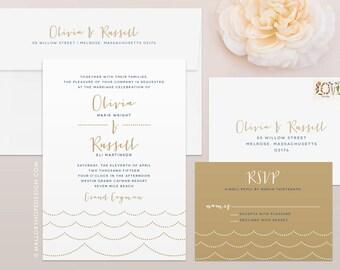 Ocean Wave Wedding Invitation & RSVP Set - Destination Wedding Invitation, Beach Wedding Invitations, Ocean Wedding Invitations