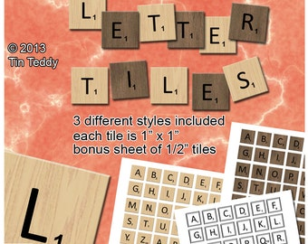 Letter Tiles Digital Collage Sheet  - 1 Inch Squares Alphabet Tiles Printable Letters, Bonus Half Inch Letters Included
